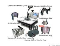 DHL free ship 110V,220V Plate/Mug/Cap/T Shirt heat press,heat transfer machine,Sublimation machine,mini digital 8 In 1 Combo