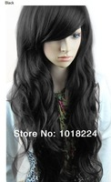 Wholesale 2014 New girls women fashion synthetic curly hair big wavy wigs black,dark brown,light brown cospaly wig free shipping