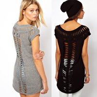 2014 European and American fashion back T-shaped hollow laser engraving tails and short-sleeved knit long section of female