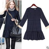 New 2013 Fashion Women's Dress Elegant Europe Geometric Grid Waist OL Wool Casual Long Sleeve Dresses