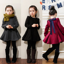 girl dresses 2014 Spring Kids girls bow dress solid color long-sleeved dress free shipping(China (Mainland))