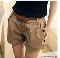 Free 2014 fashion desinger high quality cotton ladies button pants capris, female zipper shorts clothes with belt hot pants