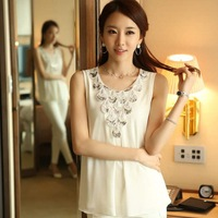 New Sleeveless Chiffon Shirts!! 2014 Summer Blouses Lace Crochet Sequined O-neck S-XL Black White Freeshipping 01272