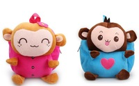Super cute 1pc 25cm baby backpacks plush doll couple monkey outdoor shoulder bag little children kindergarten girl boy toy gift