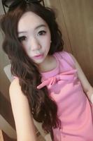 2014 spring bow neckline sleeveless ruffle vest one-piece dress 823