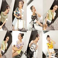 Summer 2014 chiffon short-sleeve T-shirt female HARAJUKU print basic shirt sisters equipment honey shirt