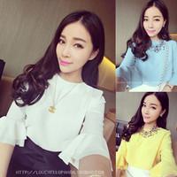 Spring 2014 ladies small ruffle sleeve chiffon t-shirt female Iotion sisters equipment lace top