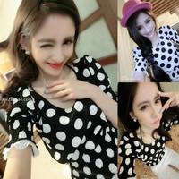 Spring 2014 Iotion sisters equipment polka dot chiffon short-sleeve top HARAJUKU young girl basic shirt female
