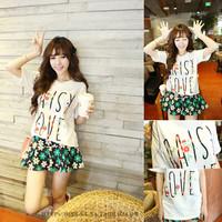 Spring 2014 school wear young girl small fresh short-sleeve T-shirt female loose basic shirt
