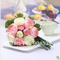 Wholesale 12 Bouquet/Lot 10 Pcs Rose Head/ Bridal Bouquet, Home Wedding Party Events Decoration Silk Artificial Camellia Flower