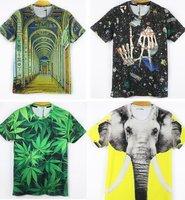 Free Shipping Fashion Animal Print 3D Tshirt 3D Flower Army Print Tshirt Man