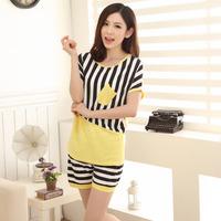 Summer Women Striped Pocket Short Sleeve Pajamas Set Sleepwear Home Casual Night Wear Clothes Sleepwear Nightwear Home Clothing