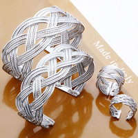 New 2014 facory price wholesale 925 silver jewelry sets fashion jewelry bangles + ring set silver jewelry set free shipping S258