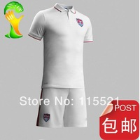 BEST  quality 2014 world cup USA home white soccer football jerseys +SHORTS KITS, America soccer uniforms shirt free shipping