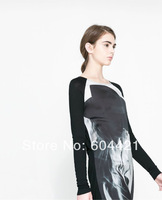Free Shipping 2014 European style Digital printing loose long T-shirt