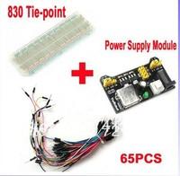 3.3V/5V MB102 Breadboard power module+MB-102 830 points Prototype Bread board for arduino kit +65 jumper wires wholesale  30292