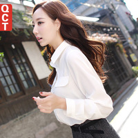 Qct 2014 spring and autumn women's loose casual basic long-sleeve chiffon shirt top shirt  Plus Size XL