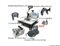 Multifunctional Combo Heat transfer Machine for sublimation ink transfer , mug t-shirt cap plate printing 7 in 1