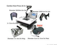 DHL free Hot Sell Combo digital heat transfer machine , 6 in 1 Heat press machine ,multifunction heat press machine