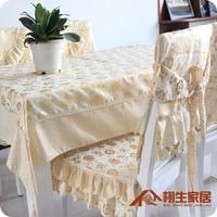 Table cloth tablecloth 150cm x 200cm + chair cushion covers 6pcs cotton bronzing pink gold