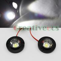 2Pcs Round 12V Bike Motorcycle High Power LED Decorative Strobe Warning Flash Flashing Light Lamp White
