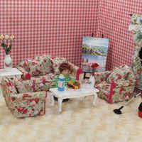 MINI CLUB-FREE SHIPPING- Doll house mini furniture model gift toy rustic sofa piece set multicolor