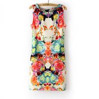 Fashion women's vintage print tantalising sleeveless slim tank dress one-piece dress short skirt  free shipping