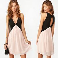 New fashion euramerican style bump color backless deep v-neck big yards chiffon dress, beach dress sexy backless
