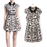 2014 summer fashion formal ol slim print short-sleeve dress short skirt puff skirt  free shipping