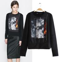 Women's fashion vintage pattern print sports plus velvet sweatshirt basic shirt top