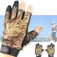1 Pair of 3 Cut Finger Anti-Slip Green Camo Camouflage Fishing Hunting Gloves Water Proof Sport Bike Fahrrad Fische Handschuhe