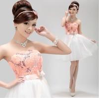 new arrival 2015 spring  bandage lace up dress short dress tube top party dress blue purple plus size bridesmaid dress