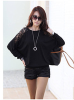 2014 summer new fashion ladies solid color T-shirt High Quality  loose stitching lace shirt blouse  free  shipping