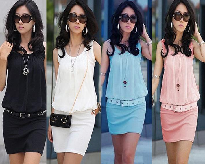 New !! 2014 Summer Women's Mini Dresses Crew Neck Chiffon Sleeveless Causal Tunic Sun Dress 4 Colors S M L XL Drop Shipping(China (Mainland))