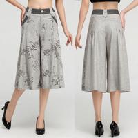 2014 female linen high waist culottes skorts wide leg pants casual pants capris quinquagenarian comfortable