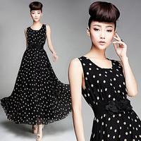 new 2014 summer women dot sleeveless belt polka dots maxi dress bohemian dress vestidos de fiesta QW3422