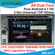 2014 pure Android 4.1 Car DVD Capacitive Screen for 2 din universal old Nissan old Kia old Hyundai series 1GHZ CPU 1GB DDR3(China (Mainland))