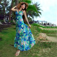 free shipping new 2014 spring summer bohemian maxi vacation beach strap dress oversized swing IQ013