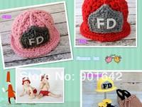 2014 Newborn Baby  Crochet Fireman Cap,Baby Fireman Beanie Photo Props,Red,Pink ,Yellow 30pcs