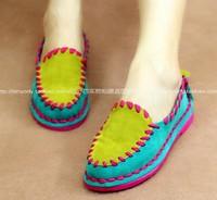 HOT new 2014 fashion spring autumn color block casual women flats single shoes plus size gommini flat shoes women