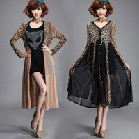 Free Shipping! Spring leopard print chiffon ultra long cardigan organza patchwork twinset one-piece dress