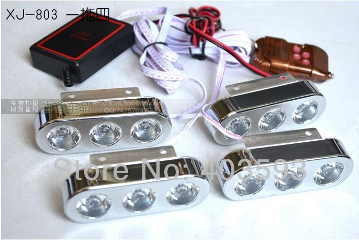 Wireless remote control flash strobe light 3LED*4 12led red blue white light(China (Mainland))