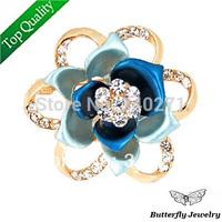 2014 Fashion Multicolor Enamel Crystal Rose Flower Brooch Pin Women Wedding Jewelry Gift Wholesale