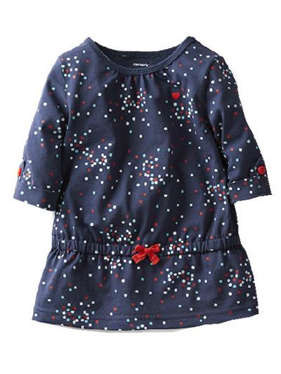 Free shipping Brand Carters 2014 New Baby clothing Girls Dresses Original 12m-24m Kids Dark blue Cotton Outerwear Summer