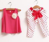 Retail NEW design 2013 new children's clothing summer set child flower female vest polka dot harem pants twinset