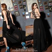 new 2014 winter summwe women Long sexy cut-out back sexy back chiffon dressbodycon bandage dress vestidos de fiesta CM675