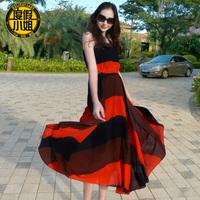 2014 plus size clothing chiffon jumpsuit full dress bohemia full dress beach dress expansion bottom full dress
