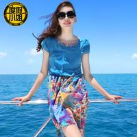 2014 women's new arrival chiffon jumpsuit short skirt beach print o-neck mid waist skirt