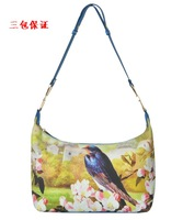 2014 Newest Fashion Women's Spring flower kingfishers Print Bird Canvas cross-body haversack One Sholuder  Handbag Free Shipping