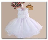 Latest White party dress Bridesmaid dress girls Stereo Rose sleeveless net yarn tutu dress children Easter Party Dress EMS 3112